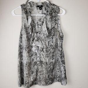 Mossimo Black & Gray Ruffle Short Sleeve Blouse M